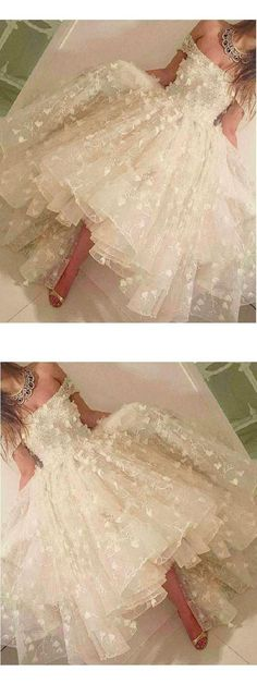 High Low Prom Dresses #HighLowPromDresses, Prom Dresses White #PromDressesWhite, Homecoming Dresses High Low #HomecomingDressesHighLow, White Homecoming Dresses #WhiteHomecomingDresses, Short Prom Dresses #ShortPromDresses, Homecoming Dresses 2018 #HomecomingDresses2018