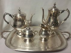 Vintage Elegant Wm Rogers Silver Plate 6 Pc Coffee & Tea Set NICE ...