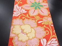 アンティーク 花唐草模様織り出し丸帯:リサイクル・アンティーク着物のシンエイ