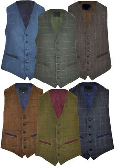 Mens Classic Wool Blend Derby Tweed Check Waistcoat Herringbone Formal S - 3XL in Clothes, Shoes & Accessories, Men's Clothing, Waistcoats | eBay!