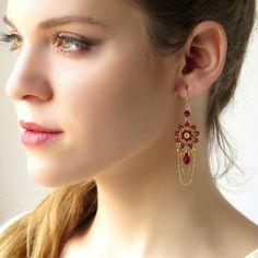 Gold chandelier earrings Statement earring Long by LioraBJewelry