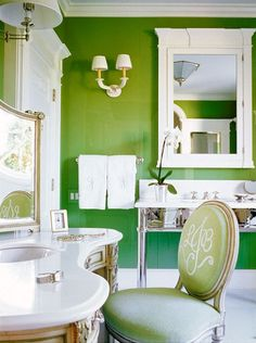 Bright Green Bathroom with Feng Shui Elements Rustic Bathroom Shelves, Rustic Bathroom Vanities, Bathroom Ideas, Cabin Design, House Design, Pad Design, Lotus, How To Feng Shui Your Home, Green Rooms