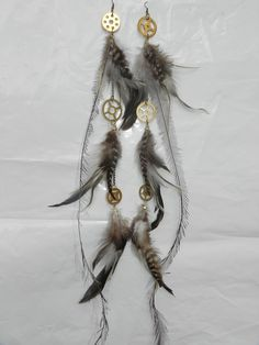 SteamPunK Brass 3tiered Feather Earrings by WitchyWitchCraft, $55.00