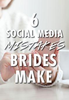 6 Social Media Mistakes Brides Always Make Wedding Advice, Post Wedding, Wedding Images, Wedding Vendors, Wedding Planning, Weddings, Wedding Ideas, Wedding Events, Engagement Tips