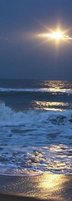 Sunset and Waves°° mother nature moments | Moon Shine over the Ocean