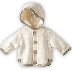visually result of baby boy vests with hood Crochet Baby Cardigan, Baby Cardigan Knitting Pattern, Hoodie Pattern, Jacket Pattern, Baby Knitting Patterns, Baby Boy Vest, Baby Coat, Layette Pattern, Free Baby Patterns