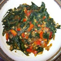 Ethiopian-spiced collards with garlic, bell pepper, lemon, turmeric, paprika, allspice, and ginger.