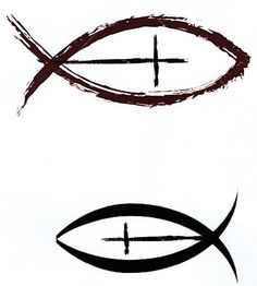 Christian fish with cross as a side tattoo with cross upward, i like a lot and still debating on what to get on my side