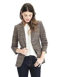 Like this with the matching suit pants, as well.  Banana Republic. Lightweight Wool Flannel One-Button Blazer in Brown glenplaid.