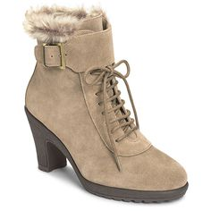 Rufflection Fleece Trim Lace Up Bootie | Women's Boots & Booties Cold Weather | Aerosoles