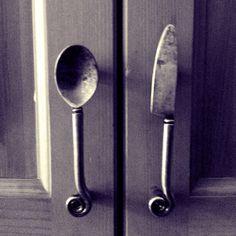 Kitchen cabinet door handles.