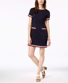Tommy Hilfiger Striped-Trim Dress, Created for Macy's - Blue 18 Vestido Tommy Hilfiger, Tommy Hilfiger Mujer, Tommy Hilfiger Outfit, Look Fashion, Korean Fashion, Casual Outfits Summer Classy, Review Dresses, Knit Dress, Dresses For Work