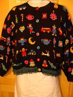 Ugly Christmas Sweater 2-sided Front & Back Busy Tacky Designs  Very cute
