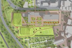 On the grounds of the former Atrium Hospital in Kerkrade, The Netherlands, a special sports building will emerge in the coming years. Landscape Elements, Landscape Architecture, Landscaping A Slope, Urban Design Diagram, Staff Room, Sport Hall, Graduation Project, The Future Is Now, Site Plans