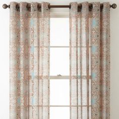 JCPenney Home Batiste Paisley & Solid Sheer Grommet-Top Curtain Panels - JCPenney