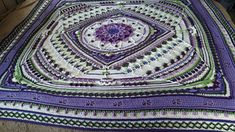 I am using 10 colors for this Sophie, 3 greens, 6 purples, and soft white for the main color. The Soft White is the super Jumbo Size. there was not an option for that size in the yarn selection a. Crochet Blocks, Crochet Squares, Crochet Blanket Patterns, Crochet Doilies, Crochet Flowers, Crochet Afghans, Crochet Blankets, Mandala Blanket, I Love This Yarn