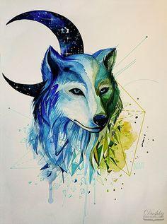 illustration by #dushky   #illustration #watercolor #tattoo #design #wolf…