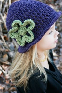 Little Girl's Crochet Hat with Flower by LakeviewCottageKids, $25.00
