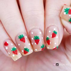 30 amazing natural summer square nails design for short nails - page 17 of 30 Nail Swag, Boxing Day, Square Nail Designs, Nail Art Designs, Nail Art Inspiration, Wedding Strawberries, Strawberry Wedding, Strawberry Nail Art, Fruit Nail Art