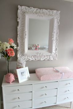Project Nursery - Vintage Mirror & Repainted Dresser in a pink and grey nursery Baby Girl Nursery Decor, Baby Bedroom, Nursery Room, Girls Bedroom, Nursery Mirror, Nursery Dresser, Vintage Nursery Girl, Dresser Mirror, Pink Dresser