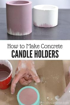 Learn how to make concrete candle holders quickly and easily. These make great gifts for family and friends. candles How to Make Concrete Candle Holders - DIY Danielle® Concrete Candle Holders, Diy Candle Holders, Candle Molds, Candle Maker, Outdoor Candle Holders, Candle Art, Diy Candles Easy, Homemade Candles, Making Candles
