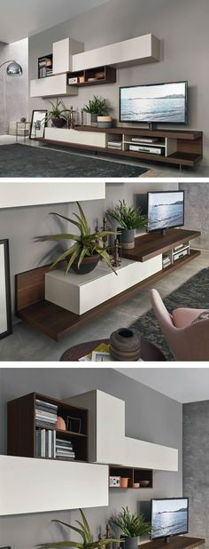 Livitalia Wohnwand Die moderne Design TV Wohnwand mit viel Stauraum in offenen und geschlossenen Regal Elementen. The post Livitalia Wohnwand appeared first on Wohnen ideen. Living Room Tv Unit Designs, Living Room Wall Units, Living Room Sets, Tv Cabinet Design, Tv Wall Design, Tv Unit Decor, Tv Unit Furniture, Muebles Living, Sofa Set Designs