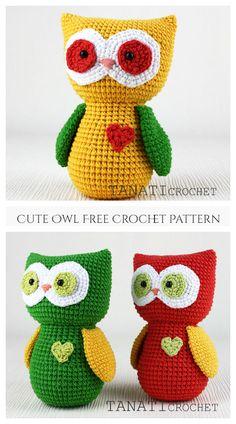 Cute Valentine Heart Owl Free Crochet Patterns Owl Crochet Patterns, Doll Patterns Free, Crochet Birds, Owl Patterns, Amigurumi Patterns, Crochet Toys, Crochet Animals, Easy Crochet Baby Hat, Free Crochet