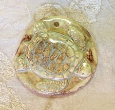 by Sheri Mallery Sea Turtle Ceramic Porcelain Pendant Handmade by SlinginMud, $10.00