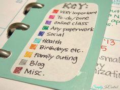 Martha Stewart 2014 Planner - color coded key