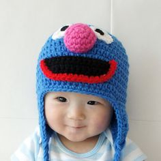 Grover Monster Hat Grover Crochet Baby Hat by stylishbabyhats