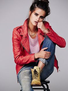 red moto jacket - so perfect for fall