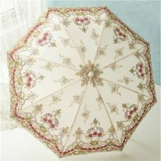 Embroidery Sequin Flower Umbrella Sun Rain protect Anti-UV Beautiful Parasol #ALJ #Parasol