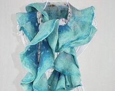Blue Ruffle Scarf, Nuno Felt Scarf, Wool Ruffle Shawl, Silk and Wool Scarf, Turquoise Wool Scarf, Wavy ruffle scarf, Boiled wool scarf, Gift Nuno Felt Scarf, Wool Scarf, Ruffle Scarf, Nuno Felting, Shawl, Turquoise, Silk, Handmade, Blue