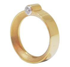 Gold Minimalist Ring- The beauty of this ring lies in it's subtlety. The yellow gold vermeil band is elegantly finished off with two brilliant cut crystals.- £320