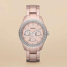 Fossil Stella Boyfriend Aluminum Watch - Blush---I love watches. Rose Watch, Pink Watch, Fossil Watches, Cool Watches, Boyfriend Watch, Boyfriend Style, Michael Kors, Quartz Watch, Fashion Watches