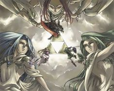 The Triforce. Din with Ganondorf, Farore with Link and Nayru with Zelda