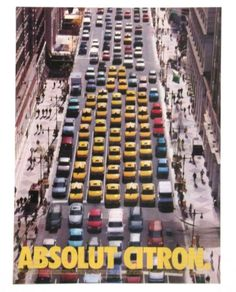 1999 Absolut Citron Vodka Advertisement AD Yellow Taxi Cab City Traffic Bottle #Absolut