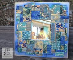 Mosaic mirror in polymer clay tile --- Miroir mosaïque - tesselles avec des restes de pâte polymère by Créations Cristalline