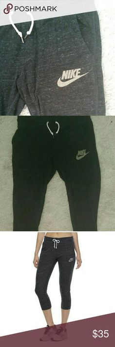 Nike sweatpants capris Vintage style nike Capri sweats, taper at the bottom,pockets on each side... the last photo is not mine, it's for a visual of what the pants look like on. I have the matching top on a separate listing :) Nike Pants Track Pants & Joggers