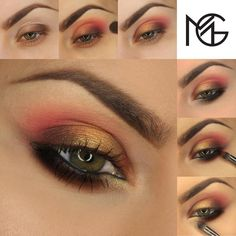 """""""Candy apple red combined with woodsy tones and enrobed in rich gold is a wintery wonder. Similar to a gilded apple, the metallic addition gives a…"""" #metallic #gold #rose #brown #black #makeupgeek"""