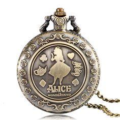 For Sale $5.53, Buy 2017 Hot Fashion Popular Girl Gift Alice in Wonderland Bronze Antique Quartz Pocket Watch Women Lovely Fob Clock