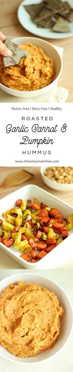 Roasted garlic, pumpkin & carrot hummus a healthy and tasty vegan dip. Vegetarian | Gluten Free | Dairy-free | Paleo | Recipe | Breakfast | Healthy