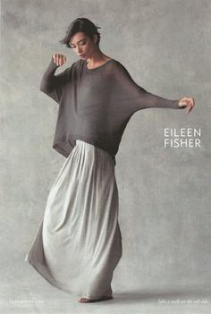 "EILEEN FISHER, of course: maxi skirt with pleats in silk cotton jersey- ""Maximum impact. A skirt that's easy to wear-- light and fluid. Eileen Fisher, Looks Style, Style Me, Shabby Chic Mode, Yohji Yamamoto, Mode Inspiration, Mode Style, Dress Up, Hipster"