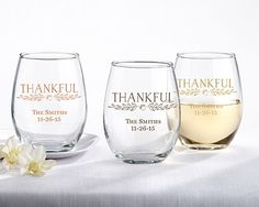 """Personalized """"Thankful"""" 9 oz. Stemless Wine Glasses"""