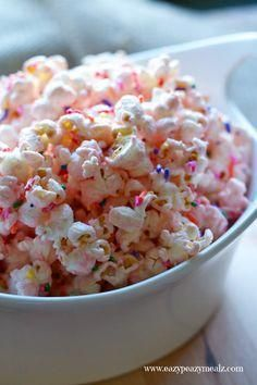 Princess Popcorn: Popcorn liberally seasoned with pink (white) chocolate and sprinkles for a tasty, and fun treat perfect for a princess party.  - Eazy Peazy Mealz