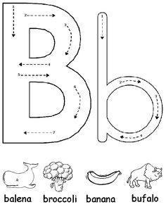 Pregrafismo lettera B - Prescrittura lettera B Symbols, Letters, Kids, Preschool, Young Children, Boys, Letter, Children, Lettering