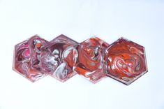 Orange, Pink & White - Resin Art Coasters Orange Pink, Pink White, Resin Art, Coasters, Art Pieces, Gems, Shapes, Handmade, Group