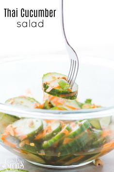 My new Thai Cucumber Salad. It's cool and refreshing, but with a spicy little kick. #thai #cucumber #thaicucumber #recipe #easyrecipe #familyfreshmeals #healthy #healthyrecipe #cleaneating