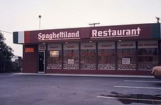 Spaghettiland, Westminster Ave, Garden Grove, 1974 (Orange County Archives) Tags: california history restaurant italian historical spaghetti southerncalifornia orangecounty 1970s lasagne ravioli manicotti cannelloni yesterland foodtogo vealparmigiana orangecountyarchives orangecountyhistory vision:sunset=0511 vision:outdoor=0945 vision:car=0567 wernerweiss spaghettiland