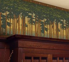 Lands End Wallpaper Frieze installed from Bradbury & Bradbury Art Wallpapers ca. - Lands End Wallpaper Frieze installed from Bradbury & Bradbury Art Wallpapers can be added to furni - Arts And Crafts For Adults, Arts And Crafts House, Home Crafts, Arts And Crafts Interiors, Arts And Crafts Furniture, Art And Craft Design, Design Crafts, Landscape Designs, Landscape Architecture